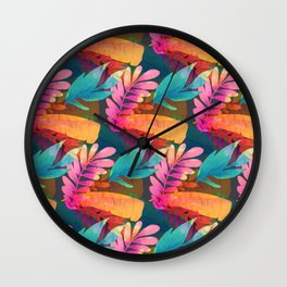 Tropical Leaves  14 Wall Clock