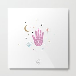 Lunar magic moon cycle and universe and stars colorful pink Metal Print