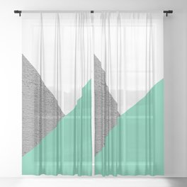 Concrete vs Aquamarine Geometry Sheer Curtain
