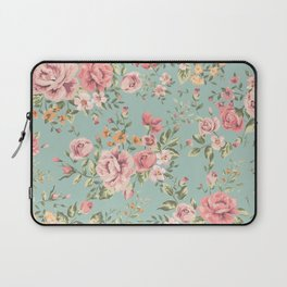 Wild Roses with blue background Laptop Sleeve