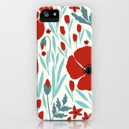Red Poppies With Cold Blue Leaves iPhone Case