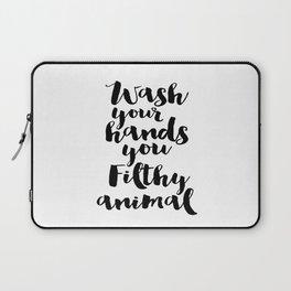 Bathroom Poster, Bathroom Decor, Wall Art, Wash Your Hands, Home Decor Laptop Sleeve