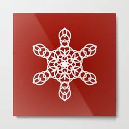 White Snowflake on a Red Backgroung Metal Print
