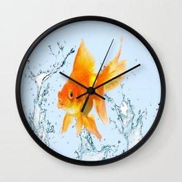 JUMPING  GOLDFISH SPLASHING  WATER ART Wall Clock