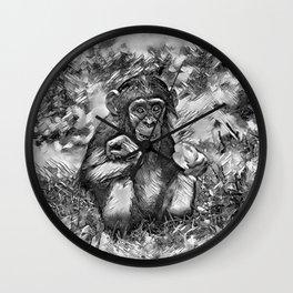 AnimalArtBW_Chimpanzee_20170603_by_JAMColorsSpecial Wall Clock