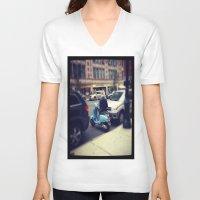 vespa V-neck T-shirts featuring Vespa by Alissa Fleck