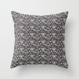 Ash gray triangles pattern, geometric artwork with colorful shapes precisely arranged Throw Pillow