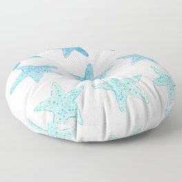 Blue Watercolor Starfish Floor Pillow
