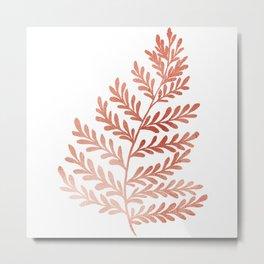 Fern Leaf - Rose Gold Texture Metal Print