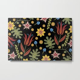 Stylised Bohemian Hippie Flowers  Metal Print