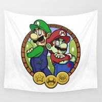 luigi Wall Tapestries featuring Zombies Mario & Luigi by Ondraede