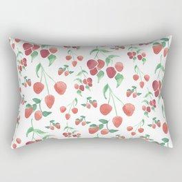 Watercolor Strawberries Rectangular Pillow