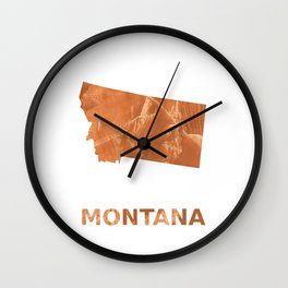 Montana map outline Peru hand-drawn wash drawing Wall Clock