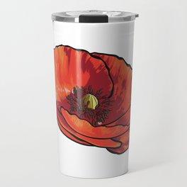 Orange Poppy Flower Travel Mug