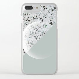 Minimal Terrazzo Moon on Vintage Green #moonart Clear iPhone Case