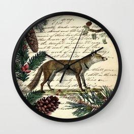 western country fairy rustic woodland nursery winter pine forest animal fox Wall Clock