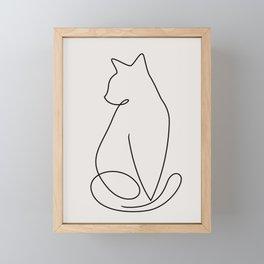 One Line Kitty Framed Mini Art Print