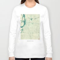 memphis Long Sleeve T-shirts featuring Memphis Map Blue Vintage by City Art Posters