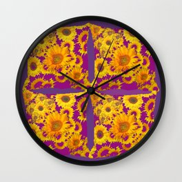 Puce-Purple  Color Golden Sunflowers Pattern Art Wall Clock