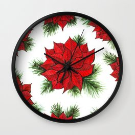 Poinsettia and fir branches pattern Wall Clock