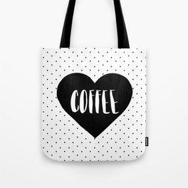 Coffee Heart - Black Tote Bag