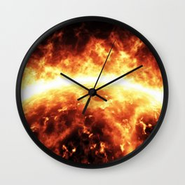 Sun surface with solar flares Wall Clock