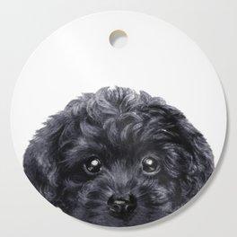 Black toy poodle Dog illustration original painting print Cutting Board