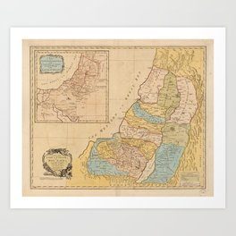 Land of Canaan (Holy Land) Map (1760) Art Print