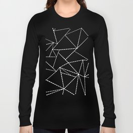 Abstract Dotted Lines White on Black Long Sleeve T-shirt