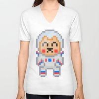 8bit V-neck T-shirts featuring 8Bit Astrobear by Bear Picnic