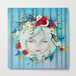 head of girl and flowers Metal Print
