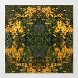 YELLOW RUDBECKIA DAISIES WATER REFLECTIONS Canvas Print