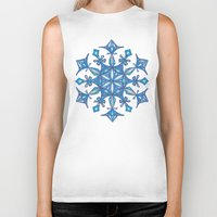 sacred geometry Biker Tanks featuring Sacred Geometry Snowflake Mandala by Jam.