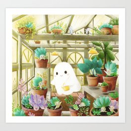 Little ghost in the greenhouse Art Print
