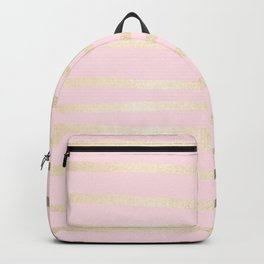 Drawn Stripes White Gold Sands on Flamingo Pink Backpack