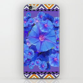 Purple Western Pattern Blue Morning Glory Floral Art iPhone Skin