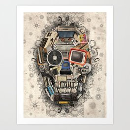 retro tech skull 2 Art Print