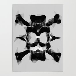 psychedelic skull art geometric triangle pattern abstract in black and white Poster