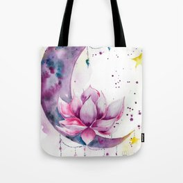 Moon with Lotus Tote Bag
