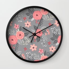 Vintage Antique Floral Flowers on Grey Wall Clock