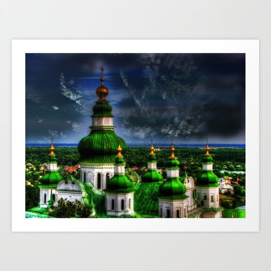 Domes of Trinity Cathedral, Chernigov, Ukraine Art Print