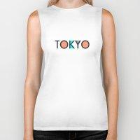 typo Biker Tanks featuring Tokyo Typo by Rothko