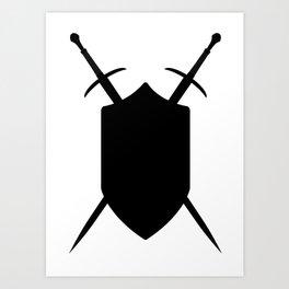 Crossed Swords Silhouette Art Print