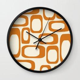 Mid Century Modern Shapes 1970s Orange #society6 #buyart  Wall Clock
