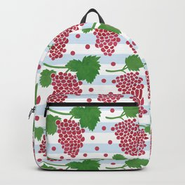 Watercolor red green grape garden pastel blue stripes Backpack