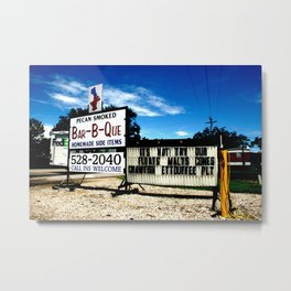 Pecan Smoked BBQ, Louisiana  Metal Print