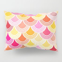 Bohemian Fish-scale Pattern - Hues of Warm Gold and Pink Pillow Sham
