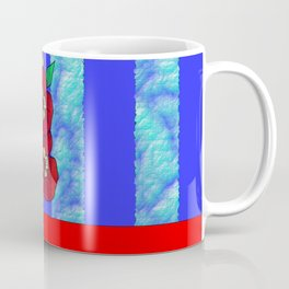 Blue and Red Floral pattern Coffee Mug