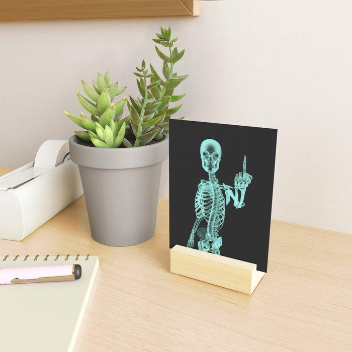 X-ray Bird / X-rayed skeleton demonstrating international hand gesture Mini Art Print