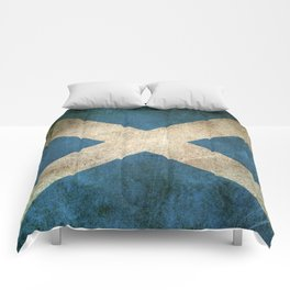 Old and Worn Distressed Vintage Flag of Scotland Comforters